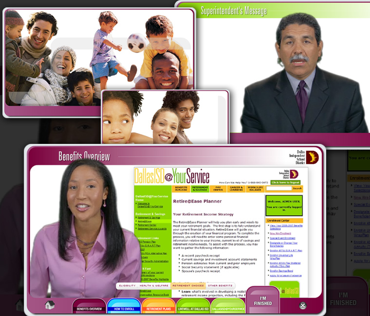 Dallas ISD HR Benefits Interactive CD-ROM, Presentation Design and Development